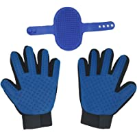 Pet Grooming Glove - Rubber Foat Pet Gloves,Hair Remover Mitt with Five Finger Design,Bath Brush Compatible Dog & Cat,Horse with Short & Long Hair 1 Pair & 1PC Cat Brush(Blue)