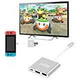 AllEASY HDMI Type C Hub Adapter for Nintendo Switch HDMI Dock for Nintendo Switch 6.1.0, MacBook Pro, iPad Pro, Samsung S9/S8 (Aluminum Case, Silver)