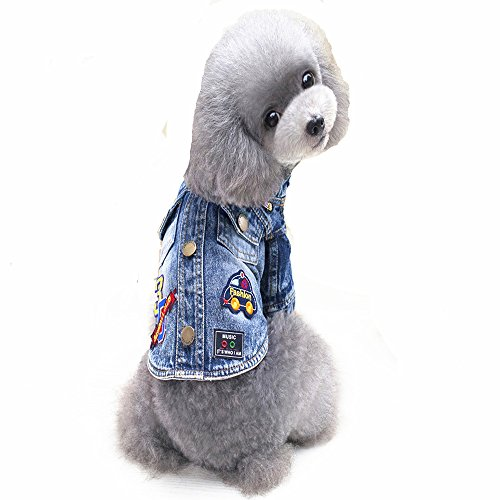Ilistar Pet Dog Clothes Cat Blue Jean Denim Clothing Cute Puppy Coat Jacket Button Front Outfit (XXL (chest 48 cm)) by ilistar (Image #5)
