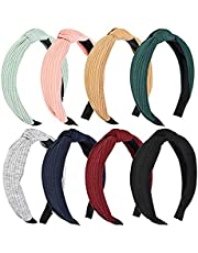 8PCS Fashion Hair Hoop Wide Headbands Knot, Cross Knot Hair Hoop Hairband Headwear Handmade Solid Colors Cloth Hair Accessories for Women and Girls- 8 Colors