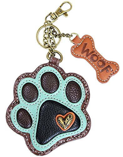 Chala Paw Print Key Fob Coin Purse, Dog Lover Gift (Teal)