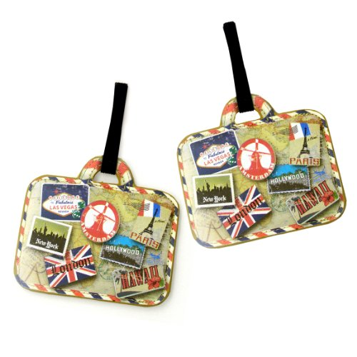 Miamica Luggage Tags 2 Piece Set Vintage Print, Gold, One Size