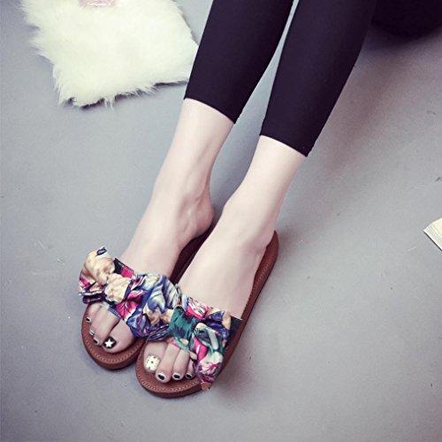 BZLine® Frauen Sommer Strand Schuhe Hausschuhe Flat Heels Flip Flops Blau