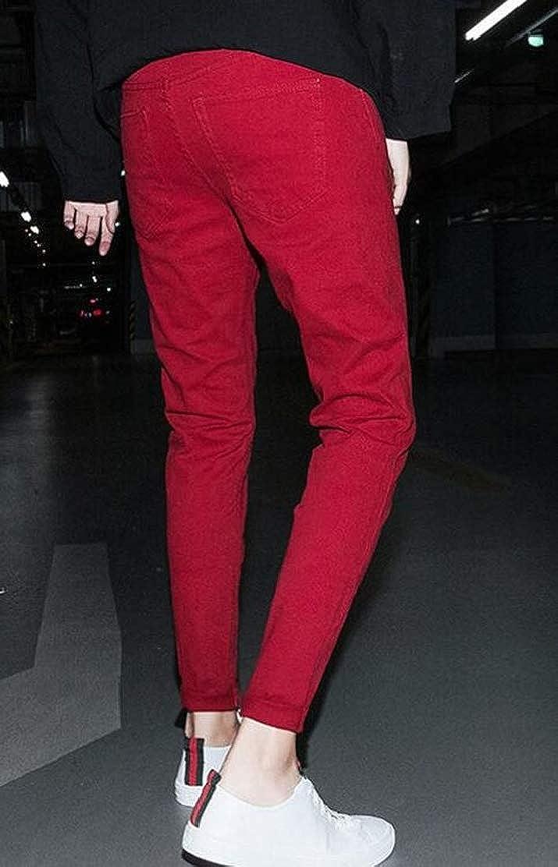 JXG Men Elastic Waist Distressed Freyed Slim Fit Denim Solid Casual Pants Jeans