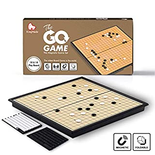 KingMade Magnetic Go Game Set with Magnetic Plastic Stones and Go Board - Weiqi Portable Korean Board Game, 11 x 11 Inches