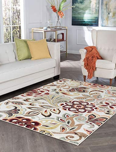 Tayse Dilek Ivory 5×8 Rectangle Area Rug for Living, Bedroom, or Dining Room – Transitional, Abstract