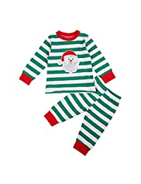 Newborn Baby Boy Striped Pajamas Cute Christmas Style Cotton Sleeper Wear