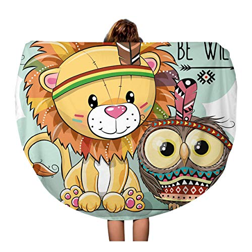 - Pinbeam Beach Towel Colorful Cute Cartoon Tribal Lion and Owl Feather Travel 60 inches Round Tapestry Beach Blanket