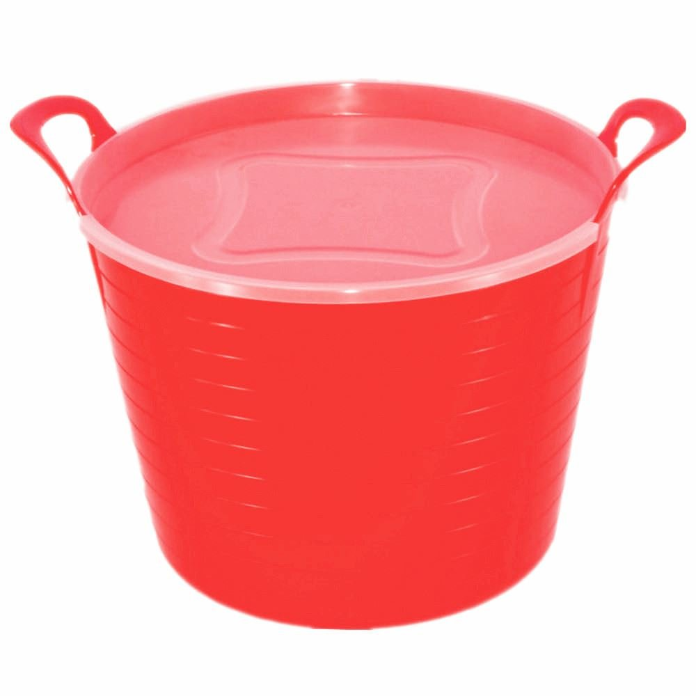 42L FLEXI TUB WITH PLASTIC LID, TRUG, BUCKET, BASKET, FLEXIBLE, STORAGE (PURPLE) KETO PLASTICS