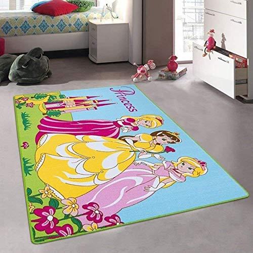Princess and Castle Playtime Disney Style Fun Educational Area Rug Girls Bedroom Carpet Non-Slip Gel Back Play Mat (8 Feet X 10 Feet)