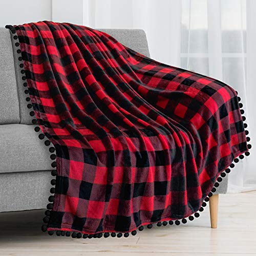 PAVILIA Fleece Throw Blanket with Pom Pom Fringe | Buffalo Plaid Checkered Red, Black Flannel Throw | Super Soft Lightweight Microfiber Polyester | Plush, Fuzzy, Cozy | 50 x 60 Inches