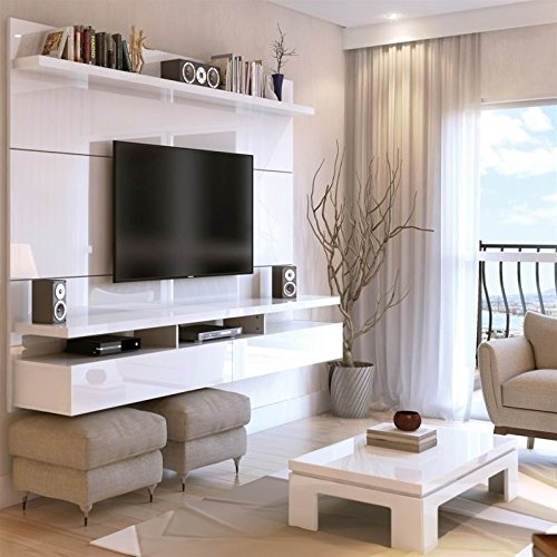 Manhattan Comfort City 1.8 Collection Floating Entertainment Center with TV Mount Wall Theater Display, 72.3