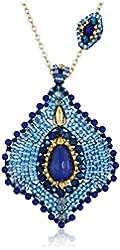 Miguel Ases Lapis Lotus Petal Pendant Necklace