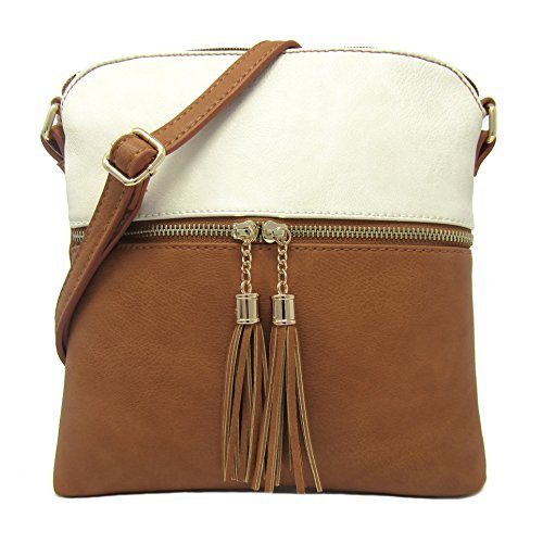 Women's Rich Faux Leather Light Weight Medium Crossbody Bag and Large Capacity Purse Organize Your Small Wallet, Cards, Phone And Daily Items with Adjustable Shoulder Strap(BEIGE/TAN)