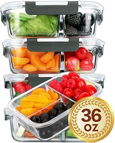 Microwave Lunch Box - [5 Packs]Glass Meal Prep Containers 3 Compartment with Lids, Glass Lunch Containers,Food Prep Lunch Box,Bento Box,BPA-Free, Microwave, Oven, Freezer, Dishwasher Safe (36 oz)