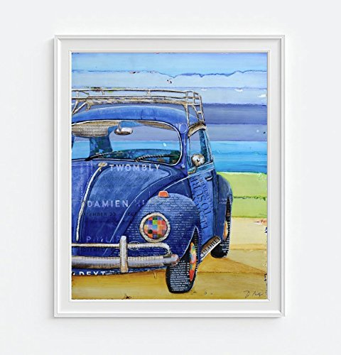 I Got the Blues - Antique Vw Volkswagen 1967 Beetle Bug - Danny Phillips UNFRAMED Art Print or CANVAS, Vintage nautical coastal beach and home decor poster, 8x10 inches - Vintage Volkswagen Beetle