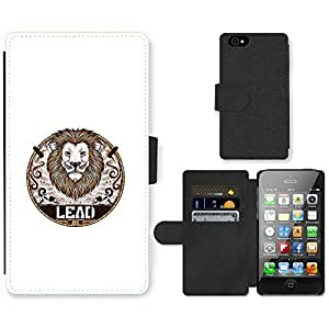 Hot Style Cell Phone Card Slot PU Leather Wallet Case // M99999488 Majestic Lion Illustration // Apple iPhone 4 4S 4G