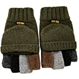 Adorrable Men's Wool Glove Mitten Fingerless Crochet Convertible Knitted Gloves, Army Green