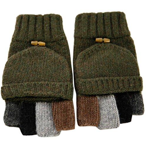Adorrable Men's Wool Glove Mitten Fingerless Crochet Convertible Knitted Gloves, Army ()