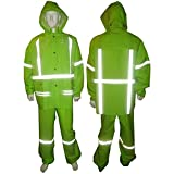 Lime Green Rain Suit With Reflective Stripes Class 2 - X-Large