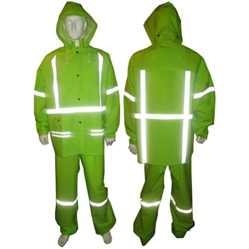Industrial Rain Suit (Lime Green Rain Suit With Reflective Stripes Class 2 - Large)