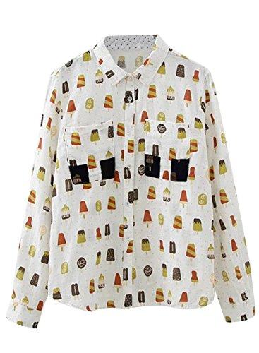 Azbro Mujer Camisa Estampado de Helado Dibujo con Botones Blanco
