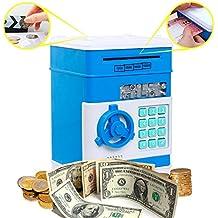 Coin Banco para niños, Código De kpaco dinero electrónico los Bancos, Mini ATM Moneda Cuadro Contraseña ahorro Bancos, Baby Juguetes Regalos Regalos de cumpleaños para niños–Blue