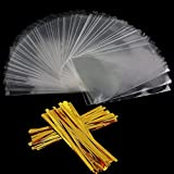 COOLAKE Clear Treat Bags 100 PCS Cellophane Bags Party Favor Bags with 100 PCS Metallic Twist Ties For Kids Birthday Candy Popcorn Gift Cookie Small (4by 6)