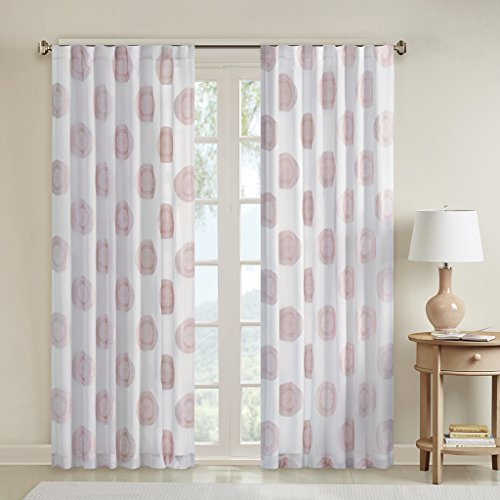 Pink Sheer Curtains for Bedroom, Yakima Medallion Rod Pocket Sheer Curtain for Living Room Family Room, Polyester Casual Back Tab Curtain sheers, 50X63, 1-Panel Pack