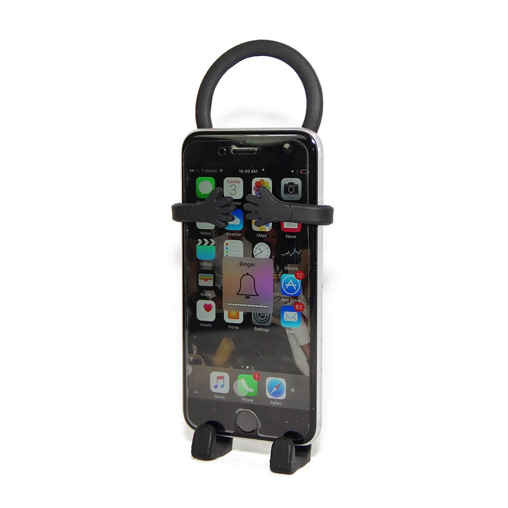Bondi Unique Flexible Cell Phone Holder Made of Silicon - Retail Packaging – Black