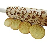 Wooden Laser Engraved Rolling Pin with Halloween Pattern for Embossed Cookies