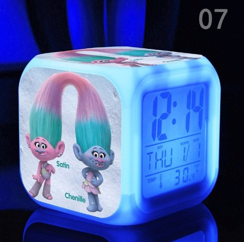 Trolls Satin and Chenille Bedroom Alarm Clock Light