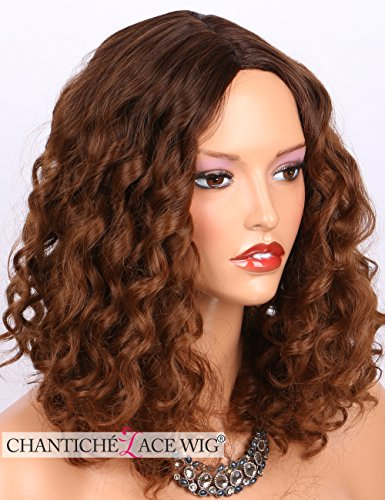 Search : Chantiche Cheap Ombre Brown Short Curly Wigs Dark Roots 2 Tones Glueless Heat Friendly Hair Synthetic Wig for African Americans