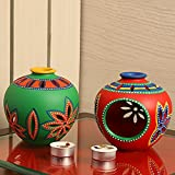 ExclusiveLane Living Room Decorative Table Tealight Votive Candle Holder (Red & Green)
