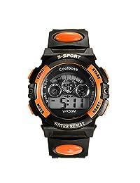 Lancardo Reloj Digital de Cuarzo Multifunciones de Cronógrafo Alarma Calendario Pulsera Electrónica con Dial Notilucente para Actividad Deportes Exteriores para Chicos Adolescentes (Naranja)
