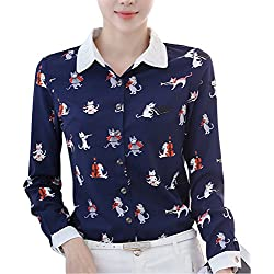 DPO Women's Floral Printed Collared Long Sleeve Shirt Blue Cat 10 Tag 2XL