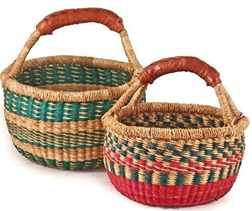 Hands Craft 9'' -11'' Across Children's Mini Bolga African Bolga Ghana Basket Fair Trade toys Easter Eggs basket (COLORS VARY)