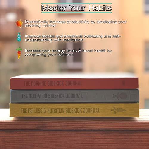 Bundle: 1x Red Morning Sidekick Journal, 1x Green Fat Loss & Nutrition Sidekick Journal, 1x Blue Meditation Sidekick Journal & 1 Gray Weightlifting Gym Buddy Journal by Habit Nest (Image #7)