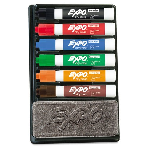 EXPO Dry Erase Marker & Organizer Kit, Chisel Tip, Assorted, 6/Set