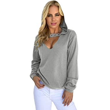 70039ed6fe3de Pull Femme Sweat-Shirt à Capuche Chic,Koly Casual Tops Manches Longues  Hoodie Sweatshirt Femme col V Sexy Haut Automne Pullover Sweater Chemisier T  Shirt ...