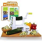 SpiraLife Pro Vegetable Spiralizer, Professional Spiral Vegetable Slicer, Zucchini Spaghetti Maker Kitchen Tool and Recipe eBook Package, 3 blades