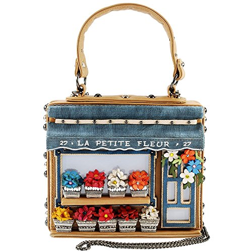 MARY FRANCES La Petite Fleur Embellished Flower Shop Themed Novelty Top Handle Bag by Mary Frances