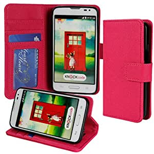 Abacus24-7 Verizon Optimus Exceed 2 [LG L70] Wallet Case with Flip Cover and Stand [Pink Leather]