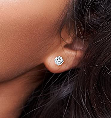 14k Gold Post & Sterling Silver 4 Prong Swarovski Pure Brilliance CZ Stud Earrings