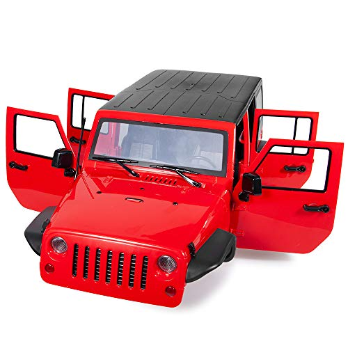 RCLions 313mm Wheelbase RC Car Body Shell Plastic for 1/10 Jeep Wrangler Axial SCX10-II 90046/90047 TRX4 kit (Red)