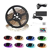Led Strip Lights Signcomplex 150leds 16.4ft/5m Flexible Color Changing RGB SMD 5050 LED Strip Light Kit LED Tape Lights with 12V DC 3A Power Supply Adapter and 24 Keys IR Remote Controller