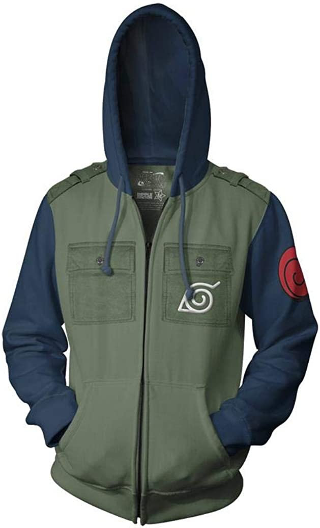 Ripple Junction Naruto Shippuden Kakashi Cosplay Military Style Adult Zip Hoodie