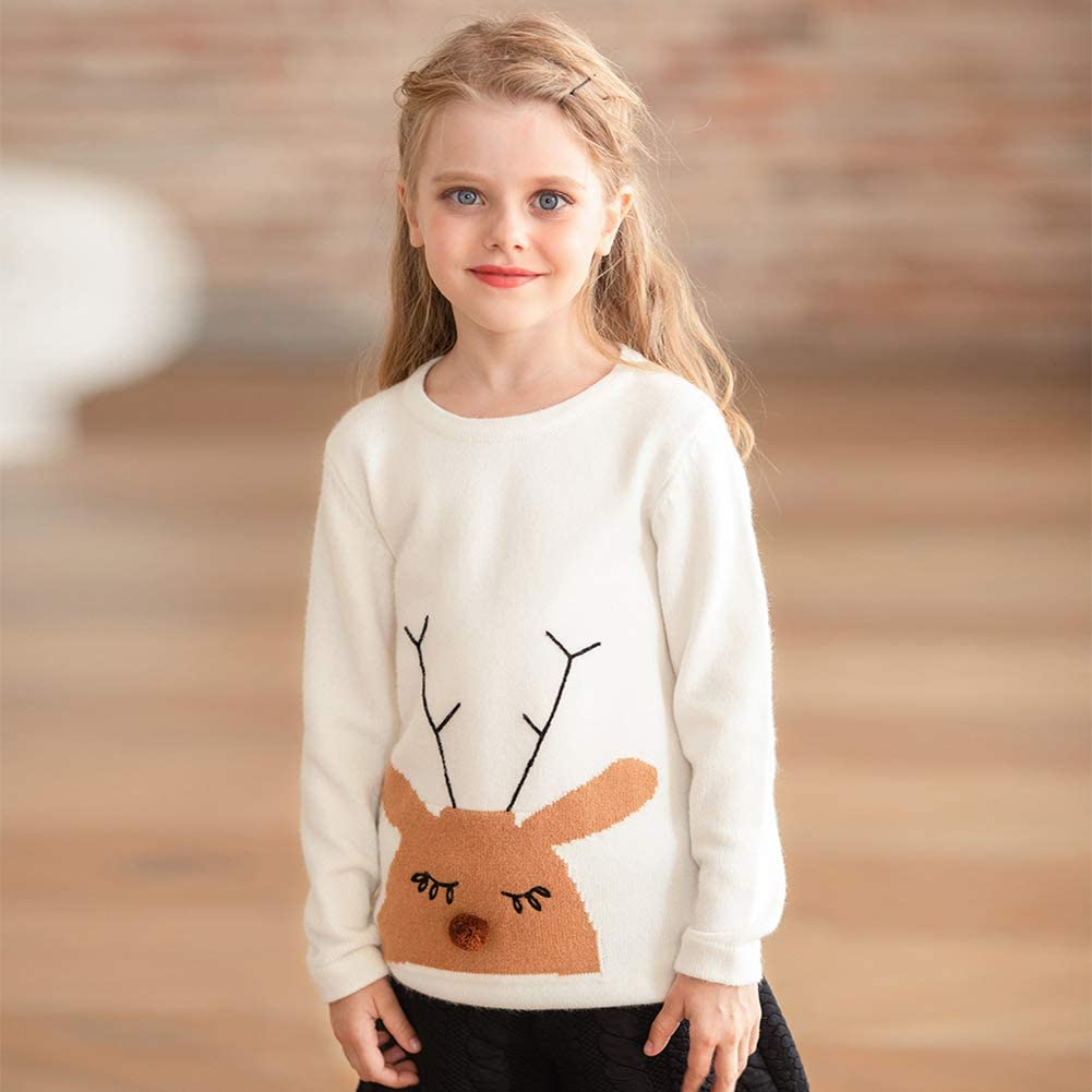 Miqi Fashion Girls Pullover Warm Sweaters Elk Christmas Long Sleeves Knittedwear