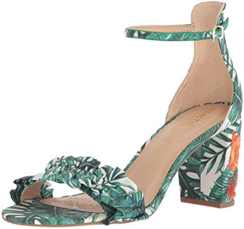 Kenneth Cole Reaction Women Shoes - Kenneth Cole REACTION Women's Rise Ruffle Strap Open Toe Dress Heeled Sandal, Green/Multi, 7.5 M US