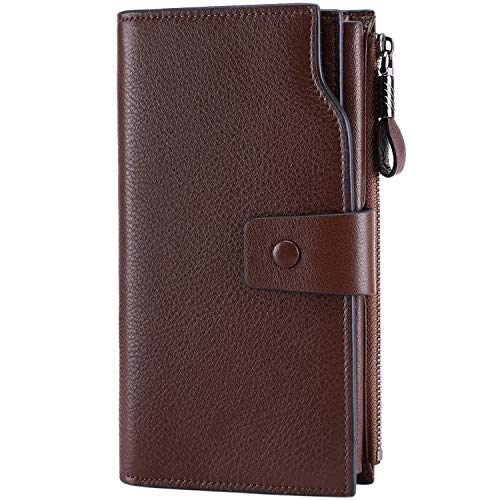 (Itslife Women's RFID Blocking Large Capacity Luxury Wax Genuine Leather Clutch Wallet Card Holder Organizer Ladies Purse (2-Natura Coffee RFID BLOCKING))